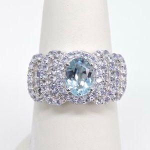 Jewelry - Genuine Blue Topaz & Tanzanite Silver Ring